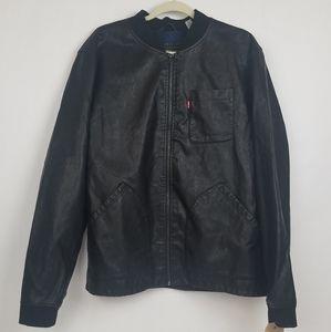 Levi's Mens Faux Vegan Black Leather Zip Jacket XL